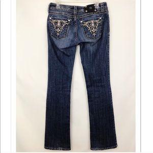 Miss Me Embellished Boot Cut Jeans Vtg Wash Sz 29